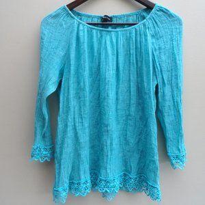 3/$20 Teal blue boho blouse